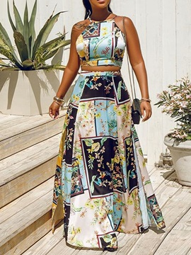 Print Office Lady Floral A-Line Pullover Women's Two Piece Sets