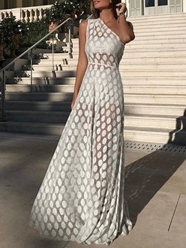 Floor-Length Oblique Collar Print Women's Maxi Dresses