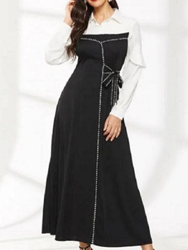 Ankle-Length Patchwork Long Sleeve Maxi Women's A-Line Dress