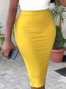 Plain Knee-Length Bodycon Office Lady Women's Skirt