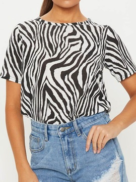 Zebra Stripe Round Neck Loose Casual Women's T-Shirt