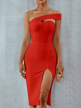 Knee-Length Oblique Collar Women's Bodycon Dress