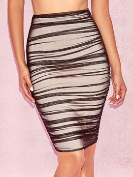 Plain Pleated Bodycon Women's Skirt