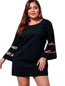 Plus Size Above Knee See-Through Round Neck A-Line Plain Women's Dress