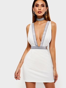 Above Knee Backless V-Neck High Waist Women's Bodycon Dress