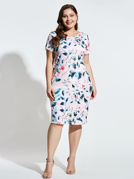 Plus Size Short Sleeve Patchwork Knee-Length Floral Straight Women's Dress