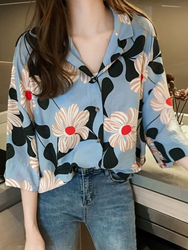 Floral Button Notched Lapel Three-Quarter Sleeve Women's Blouse