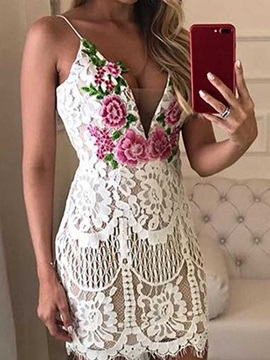 Above Knee V-Neck Lace Sleeveless Floral Women's Bodycon Dress