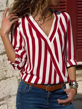 Patchwork Regular Stripe Mid-Length Long Sleeve Women's Blouse