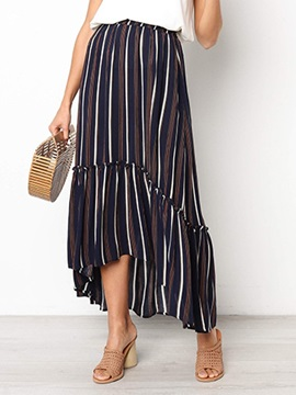 Ankle-Length Print Stripe Women's Skirt