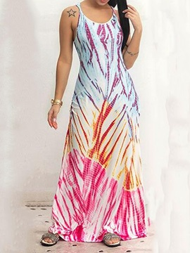 Floor-Length Print Sleeveless Pullover Women's Maxi Dress
