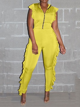 Full Length Zipper Skinny Women's Jumpsuit