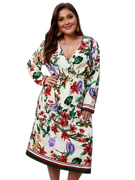 Mid-Calf Print Long Sleeve A-Line Plus Size Women's Dress