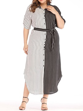 Lace-Up Ankle-Length Half Sleeve High Waist Plus Size Women's Dress