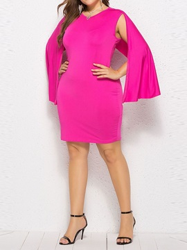 Long Sleeve V-Neck Knee-Length Plain Women's Dress