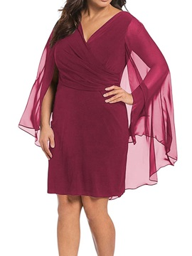 Knee-Length Patchwork V-Neck Plain Plus Size Women's Dress
