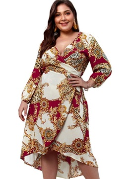 Plus Size Mid-Calf Long Sleeve Print Lantern Sleeve Pullover Women's Dress