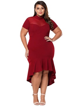 Mid-Calf Short Sleeve Asymmetric Pullover Plus Size Women's Dress