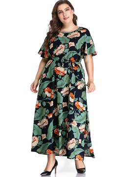 Short Sleeve Print Ankle-Length High Waist Women's Dress