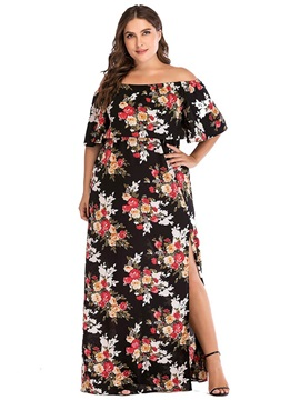 Plus Size Falbala Floor-Length Off Shoulder Women's Dress