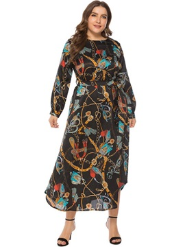 Mid-Calf Long Sleeve Lace-Up Plus Size Women's Dress