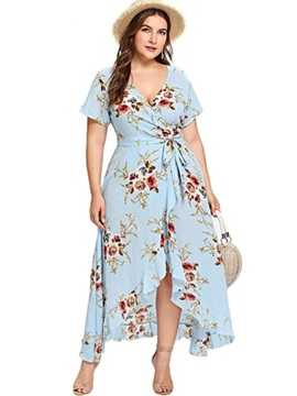 Plus Size Print Half Sleeve V-Neck Floral Asymmetrical Women's Dress