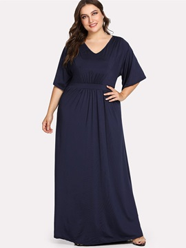 Plus Size V-Neck Floor-Length Half Sleeve Pullover A-Line Women's Dress