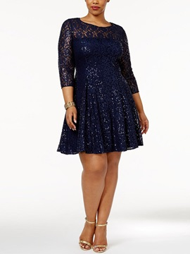 Plus Size Knee-Length Sequins 3/4 Sleeve Pullover Plain Women's Dress