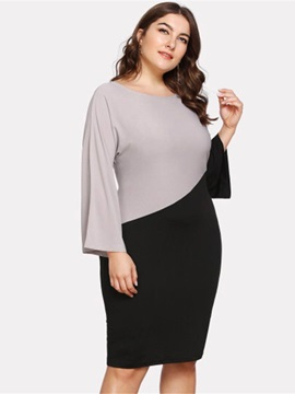Plus Size Knee-Length Round Neck Long Sleeve Pullover Pencil Women's Dress