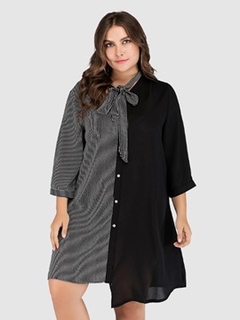 3/4 Sleeve Knee-Length Patchwork Asymmetrical Women's Dress