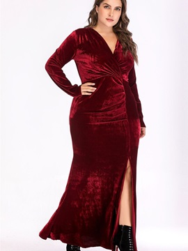 Plus Size Floor-Length Split Long Sleeve Mermaid Pullover Women's Dress