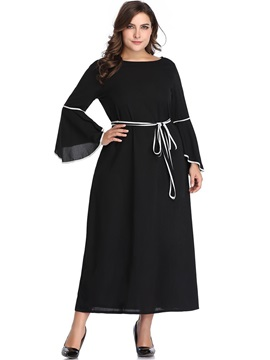 Ankle-Length Long Sleeve Pluse Size Flare Sleeve Women's Dress