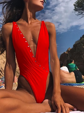 Plain V-Neck One Piece Swimwear