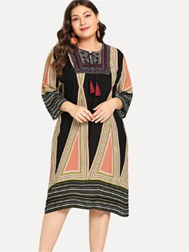 Print Plus Size Mid-Calf Expansion Women's Dress