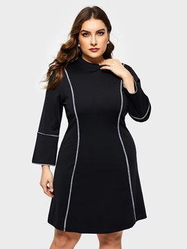 Above Knee 3/4 Sleeve Plain Plus Size Women's Dress