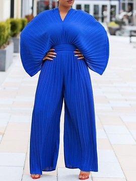Pleated Full Length Date Night Slim Wide Legs Women's Jumpsuit