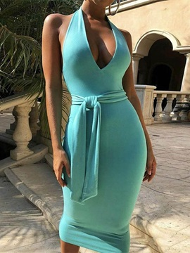 V-Neck Sleeveless Pullover Halter Women's Bodycon Dress