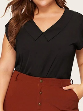 Plus Size Plain V-Neck Loose Women's Blouse