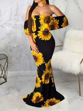 Floor-Length Print Half Sleeve Pullover Strapless Women's Dress