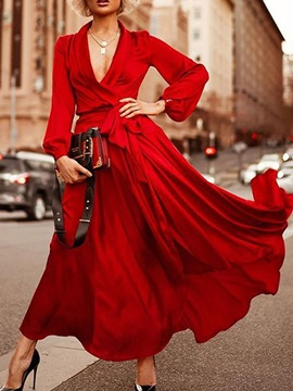 Long Sleeve Ankle-Length V-Neck Lantern Sleeve Women's Dress