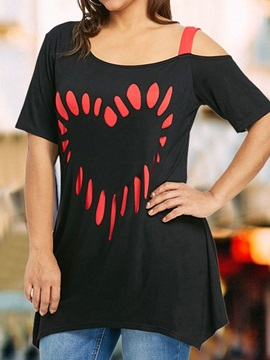 Plus Size Heart Shaped Mid-Length Women's T-Shirt