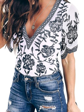 Floral Print V-Neck Color Block Short Sleeve Women's Blouse