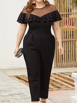 Plus Size Mesh Ankle Length Slim Straight Women's Jumpsuit