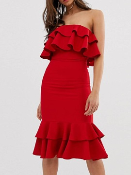 Falbala Sleeveless Knee-Length Strapless Ladylike Women's Dress