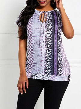 Serpentine Lace-Up Color Block Casual Women's T-Shirt