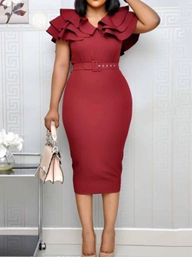 Mid-Calf Split Pullover Ruffle Sleeve Women's Bodycon Dress
