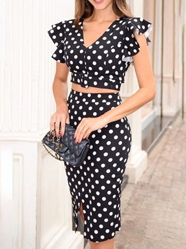 Skirt Polka Dots Falbala Pullover V-Neck Women's Two Piece Sets