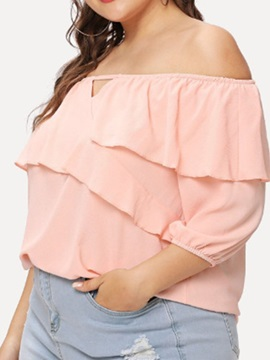 Plus Size Plain Off Shoulder Falbala Women's Blouse
