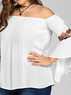 Plus Size Floral Embroidery Off Shoulder Women's Blouse