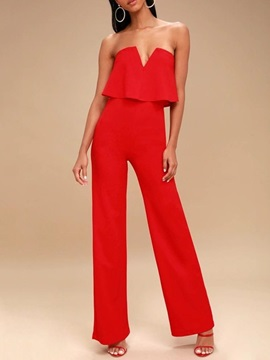 Western Plain Full Length Slim Straight Women's Jumpsuit